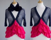 Women's clothing upcycled retro shrug pink and blue with fur collar S