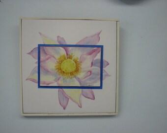 Lotus Flower hand painted on porcelain and ceramic framed
