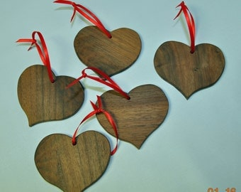 Walnut Wooden Hearts  for  Gifts, Wedding, Holidays, Ornaments