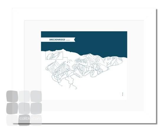 Breckenridge Ski Trail Map 8x10 Modern Art Print Reverse