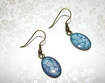 Caribbean Blue and Purple Marble Charm Earrings