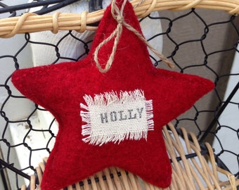 "Red recycled wool hand sewn "" Holly"" star"