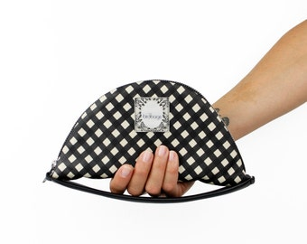 "Checkered Clutch, Round Women's Wallet with Hand Strap, Black and White Checker Print Leather, Birdbags ""Nightingale"" Handbag"