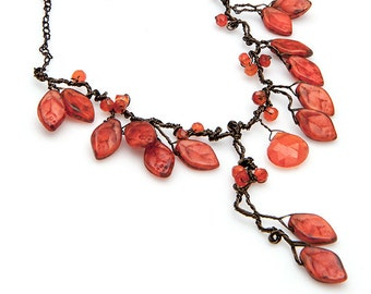 Orange Leaf Necklace, Fall Statement Necklace, Nature Jewelry, Autumn Jewelry, Carnelian Woodland Necklace,