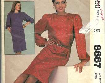 Easy McCall's 8667 Misses Dress or Top and Skirt Pattern, Size 8-10-12 UNCUT