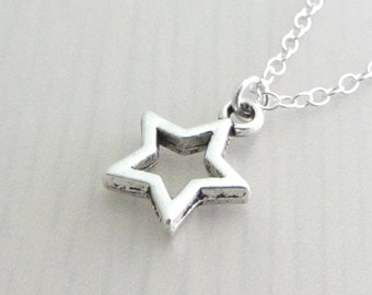 Silver Hollow Star Charm Necklace, Silver Star Pendant