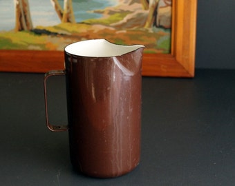 Vintage Chocolate Brown and White Enamel Pitcher Jug by Arabia Finel