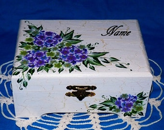 Decorative Hand Painted Jewelry Box Personalized Purple Hydrangea Wood Jewelry Chest Organizer Holder Distressed Crackle Housewarming Gift