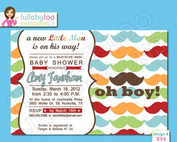 colorful mustache baby shower invitations by lullabyloo on etsy