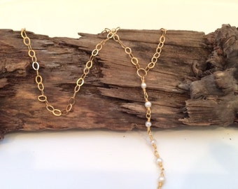 Gold and Pearl Lariat Necklace