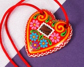 Handpainted, Heart-shaped Hungarian Honeycake Necklace with Mirror Imitation, Red Heart