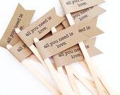 25 All You Need Is Love Drink Stir Sticks/Wedding/Bridal Shower/Rustic