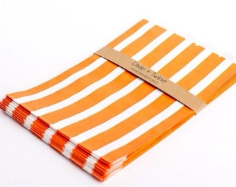 20 Orange Vertical Striped Bitty Bags 5 x 7.5/ paper bags/ party bags/ treat bags/ orange stripe bags/ orange bags/ birthday bags