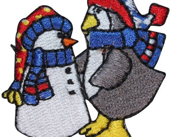 ID #8226B Penguin Building Snowman Winter Embroidered Iron On Applique Patch