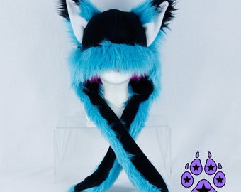 Pawstar FOX YIP Hat III You Pic Color Teal Turquoise Blue Green Purple Red kitsune Puffet Hat warm rave fleece Faux Fur Wolf Animal ear 1751