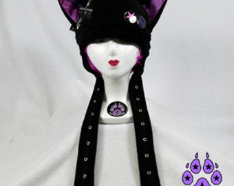 Pawstar ZIP KITTY HAT - YOu Pick Color Plaid Black Red Pink Purple Gray White Goth Jrock Punk Rock Zippers Grommet Tape Buttons Plaid 1852