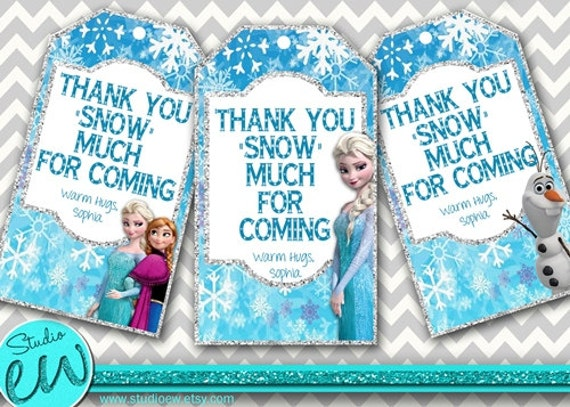 Thank You Tags, Printable Frozen Gift Tags, Frozen Party Favor Tags ...