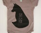 SLY as a FOX - Organic Onesie - Screen Print Baby Owl Onesie - Woodland Baby - Toddler Romper - Fox Onesie - One piece in Cinder