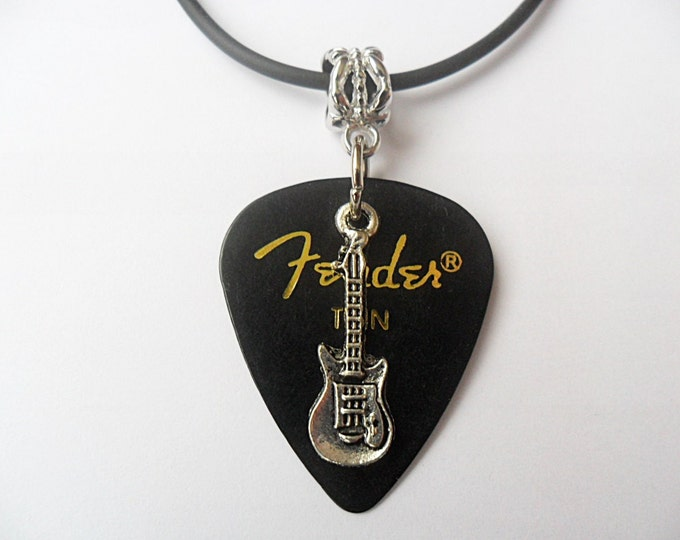"Guitar pick necklace,black, with guitar charm that is adjustable from 18"" to 20"""