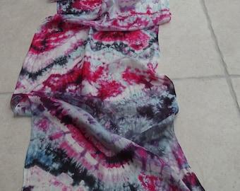 Ruby and Aquamarine Lace Silk Scarf Long Hand Painted Shibori Boho Chic