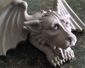 Business Card Holder, great gift, Playfull Gargoyle, hold reminders, gothic stone carving, garden statue,Cast Shadows Studio, architecture