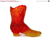 Cyber Sale Vintage / Fenton / Amberina / Carnival Glass / Daisy and Button Boot