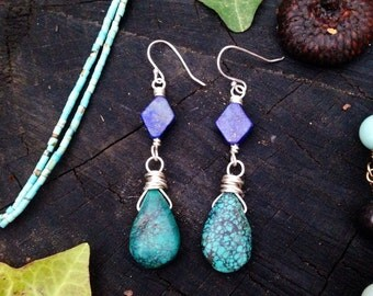 Lapis & turquoise dangle earrings - All sterling silver wire wrapped - each pair will be OOAK