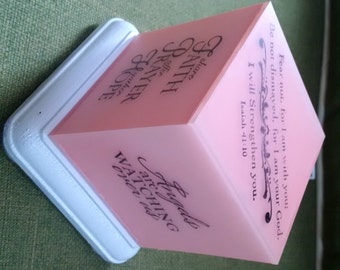 Hope Cube:  Pink Lighted Inspirational Cube with Sayings on Each Side