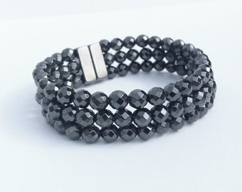 Triple stranded magnetic hematite bracelet - layered bracelet - faceted design - custom sized
