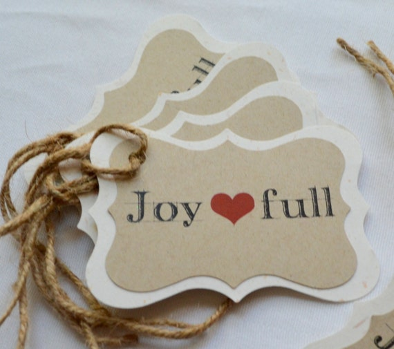 Joy Full gift tags Christmas gift tags heart Gift bag tags holiday tags twine gift tags Holiday rustic tag chic tags country gift tags xmas