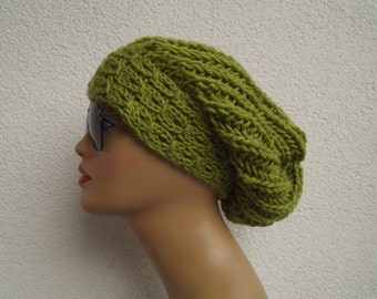 Knit beret beanie accessories christmas gift green beret gift for her