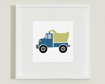 Blue and Green Dump Truck Illustration Print Decor for Nursery, Playroom or Children's Room