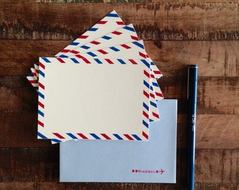 Vintage Inspired Air Mail Flat Cards