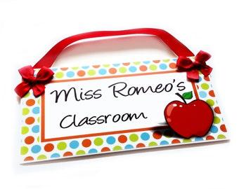 custom teacher classroom door sign - big red apple themed class wall plaque - P310
