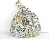Paisley Knitting Project Bag, Handbag, Diaper Bag Grey Yellow Wristlet Purse Yarn Storage Tote