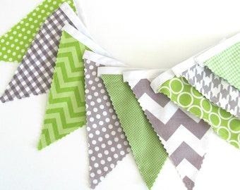 Bunting Banner, Pennant Flags Wedding, Baby Nursery, Birthday Banner, Baby Shower Decor Lime Grey Chevron Fabric Flags