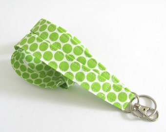 Id Badge Lanyard Key Holder, Green Polka Dot Fabric Lanyard, Women's Accessories Teacher Gift, Nurse Key Ring Lanyard