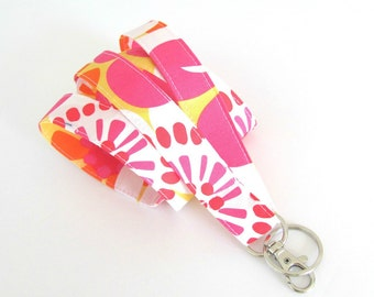 Id Badge Lanyard, hot pink yellow Floral Fabric Key Lanyard, Teacher or Nurse Lanyard Gift