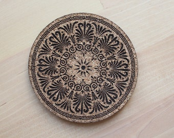 Greek design laser engraved cork coasters - set of 4 or 6