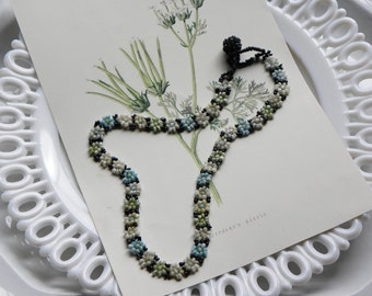 Antique Rare Find FRENCH Estate Pretty Muti-Colored Intricate Detailed FLORAL Beaded Handmade Necklace