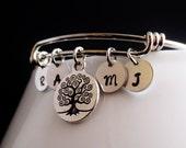 Personalized Initial Silver Bangle Charm Bracelet, Family Tree Birthstone Keepsake Cuff, Mommy Jewelry, Grandma Bracelet