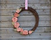 Rustic Grapevine Wreath with Pink Felt Flowers and Burlap Leaves