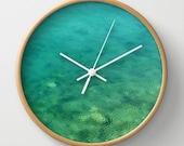 Aquamarine, wall clock, Aegean Sea, aqua, mint, ocean, ripple, breeze, abstract, natural, wind, water, shallow, shore, Greece