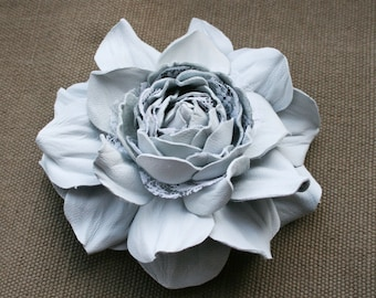 Soft grey Leather Rose Flower Brooch