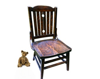 Rare Arts & Crafts Farmhouse Oak Youth Chair Antique Childrens Signed Heywood Wakefield Quartersawn Oak Wood Chair French Country Cottage