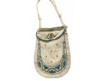 Antique Vintage 1910 Arts and Crafts Embroidery Linen Flapper Purse Handbag - Blue Green Yellow Vintage Downton Abbey Textile