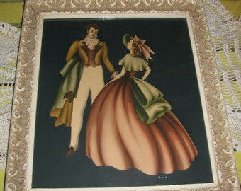 1950s Turner Print Gesso White Wood Frame Airbrush Art Southern Couple FREE U.S.A. Shipping