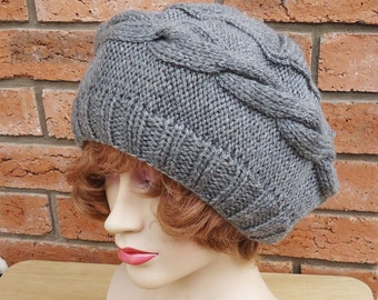 Cable Beret, Slouchy Hat, Grey Hat, Women Beret, Women Winter Beanie, UK Seller
