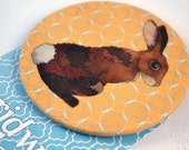 Bunny Rabbit Fabric Badge, Large Badge, Pin Badge, Fabric Covered Button, Easter Badge