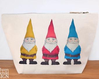 Gnomes Canvas Wash Bag, Large Zipper Pouch, Makeup Bag, Toiletry Bag, Accessory Bag